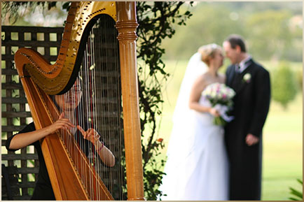 Queensland Harpist Cindy playing harp for wedding